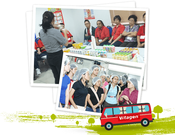 Collage pictures of VITAGEN health educational tour participants
