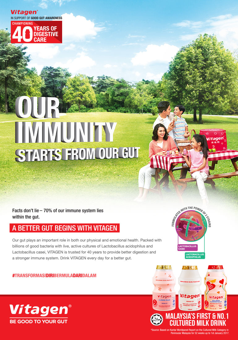 Our immunity starts from our gut with outdoor green as background