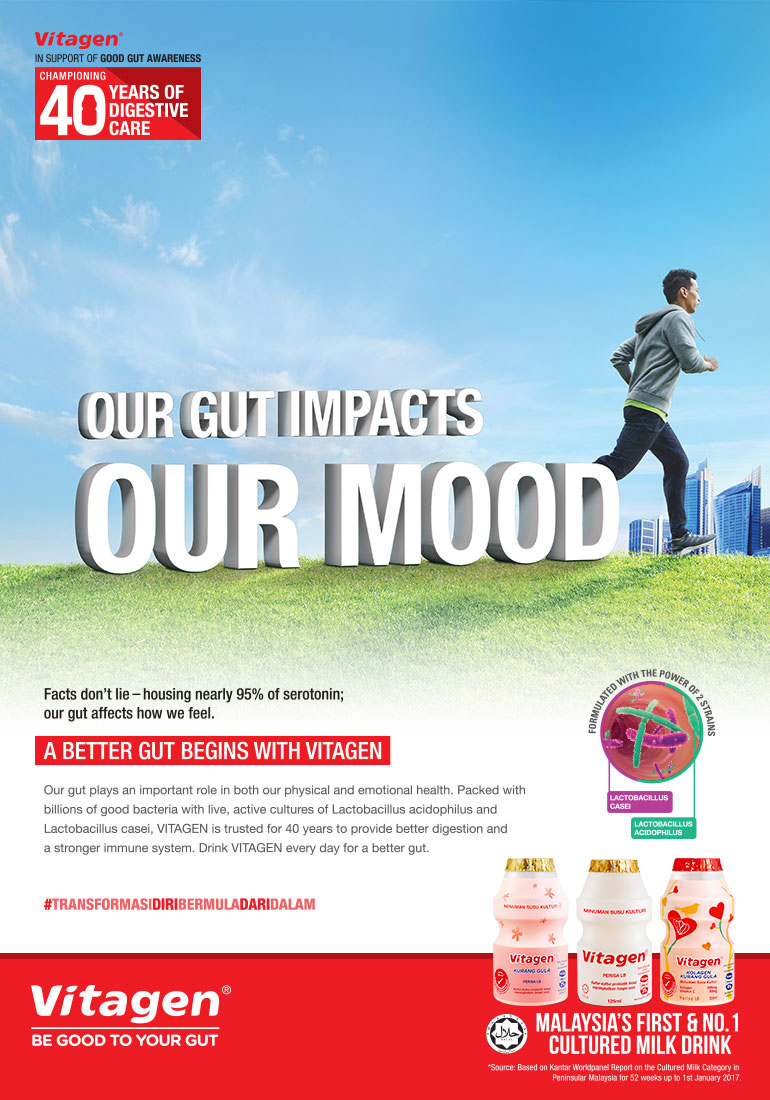 VITAGEN our gut impacts our mood visual with guy jogging outdoor in the background